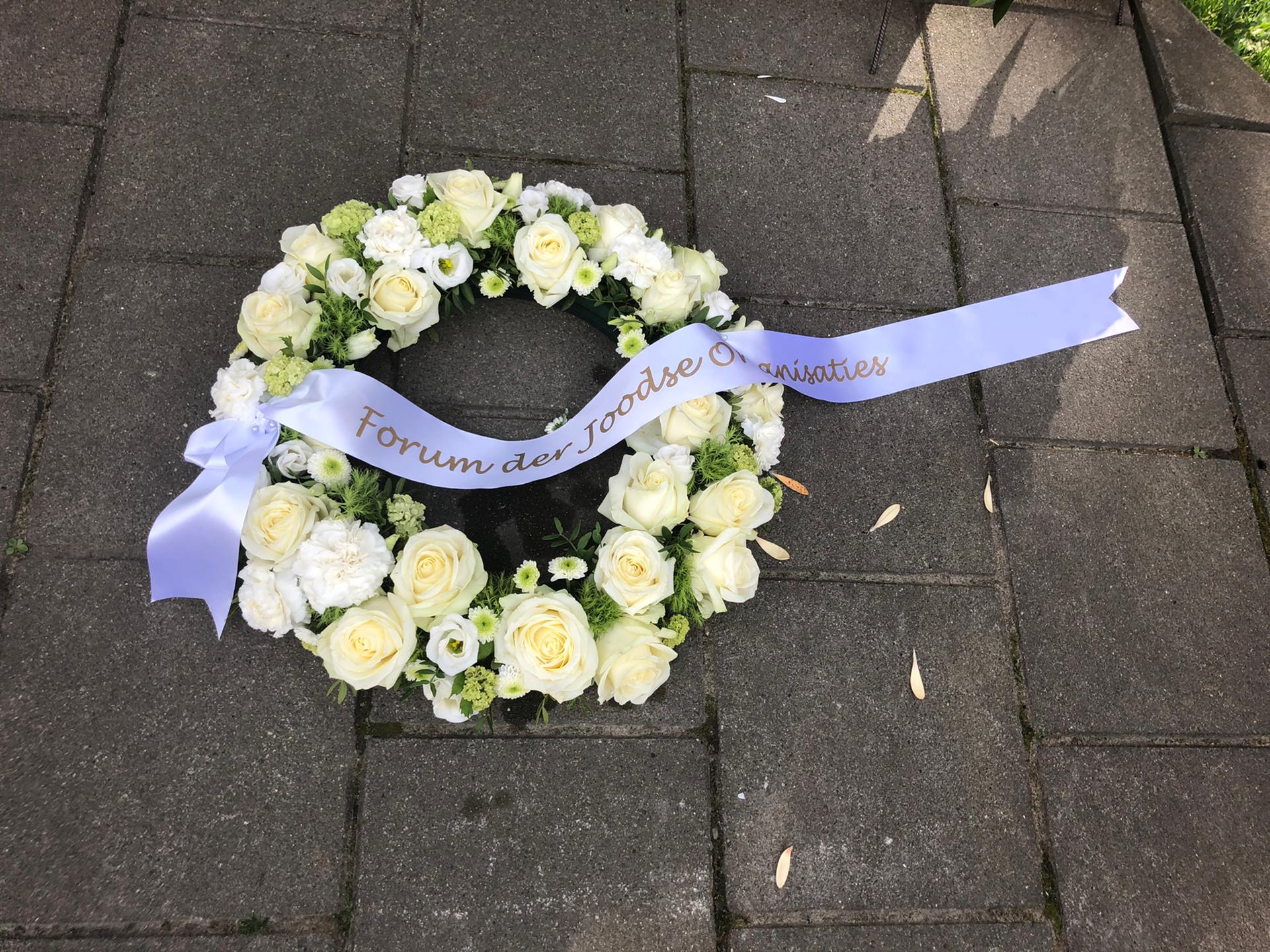 Bloemenhulde FJO aan het Monument voor Gedeporteerde Antwerpse Joodse Burgers